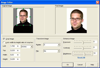 ID photo in ID Flow software